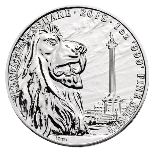 The 1 oz Landmarks of Britain – Trafalgar Square Silver Coin (2018) is a 50,000 mintage limited edition Royal Mail coin