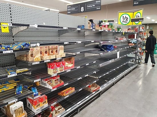 Panic buying resulted in depletion of supplies from supermarket shelves