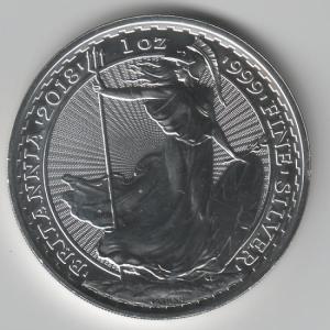 A silver Britannia coin from 2018, the same year that the Platinum Britannia was launched